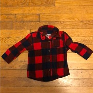 Buffalo plaid fleece button down